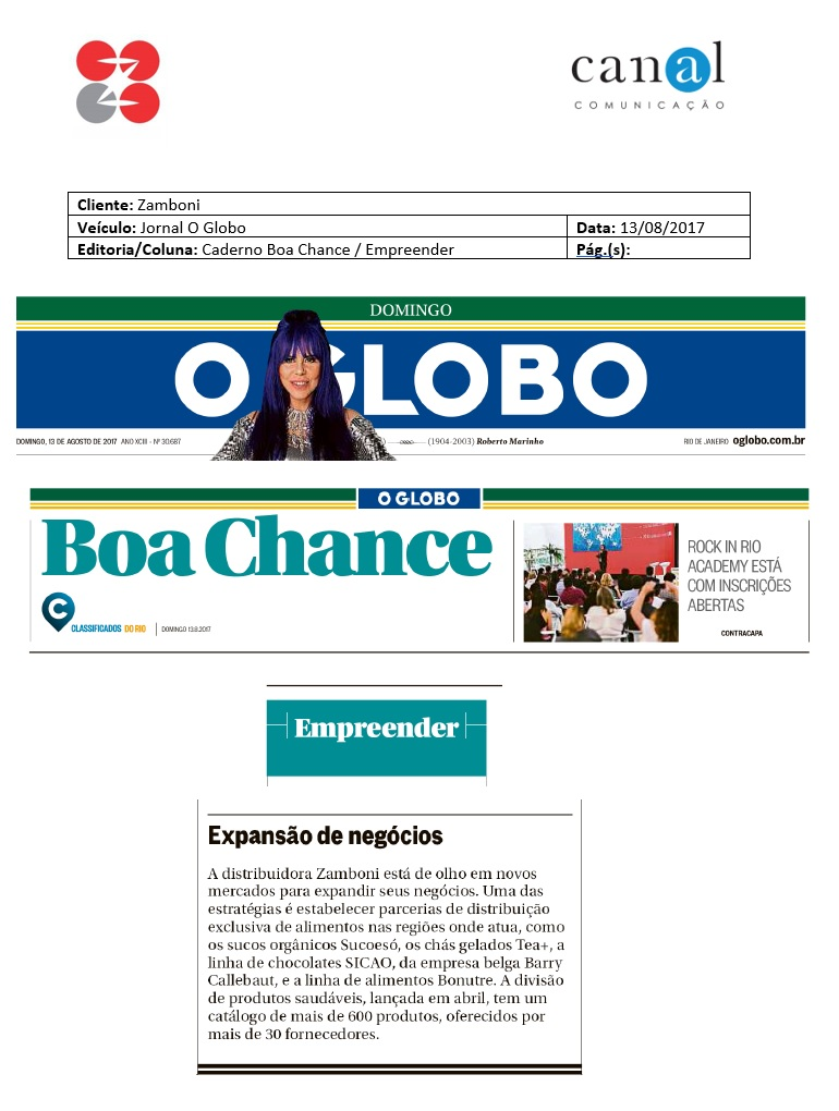Clipping Jornal O Globo Zamboni